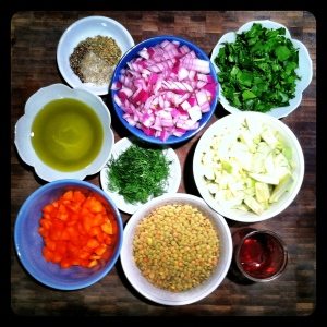 Fennel Lentil and Sausage Ingredients