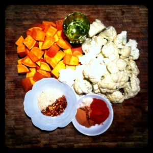 Mole Roasted Cauliflower and Sweet Potato Ingredients
