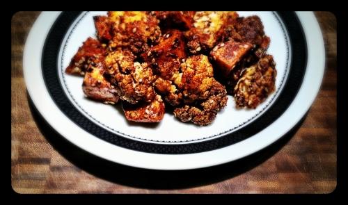 Mole Roasted Cauliflower and Sweet Potatoes